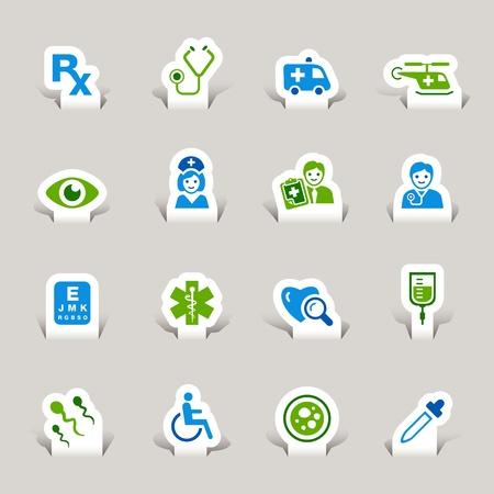 emergency vehicle: Paper Cut - icone medico Vettoriali