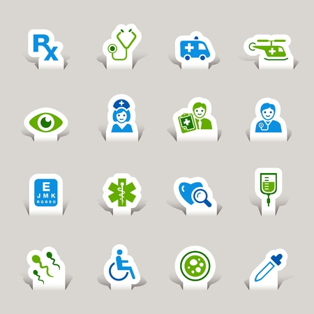 hospitals: Paper Cut - medical icons