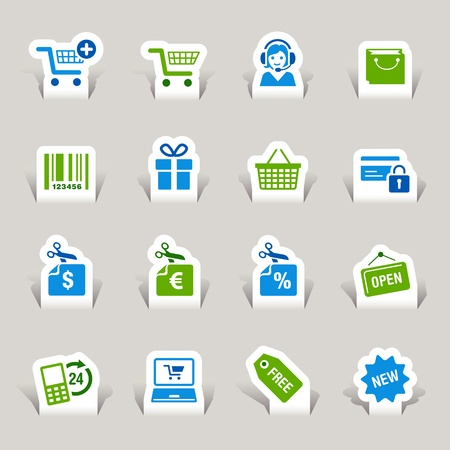 shopping trolleys: Paper Cut - Shopping icons