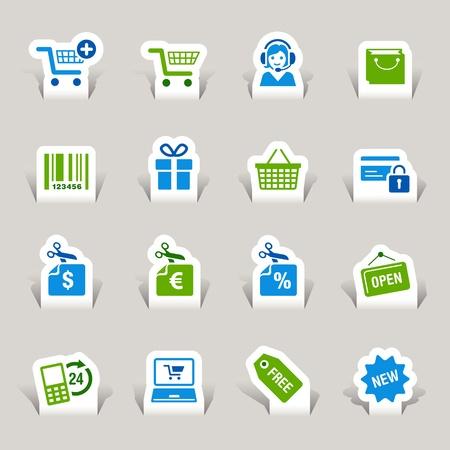 retail shop: Recorte de papel - iconos de compras