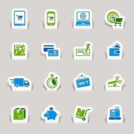 Papier Cut - Shopping icônes Vecteurs