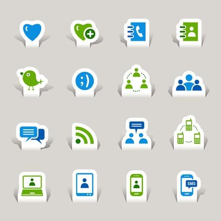 Papel cortado - iconos de medios sociales
