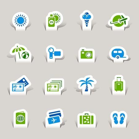 voyage: Paper Cut - icônes de vacances Illustration
