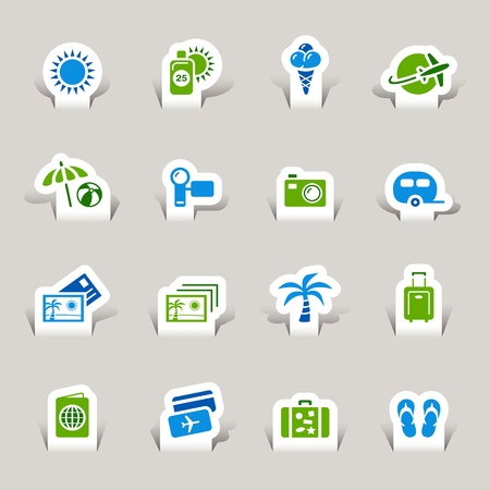 symbol tourism: Paper Cut - Vacation icons Illustration