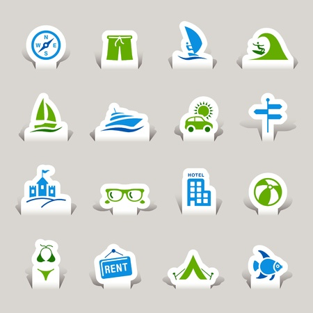 Paper Cut - Vacation icons Illustration
