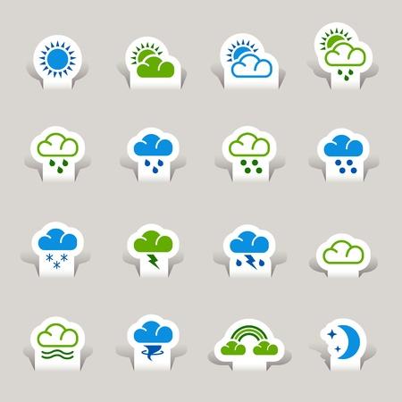 iconos del clima: Papel cortado - iconos de tiempo Vectores