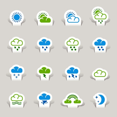 Paper Cut - Weather icons Stock Vector - 10470510