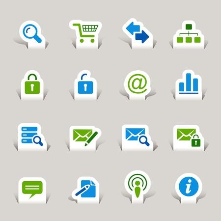 mail man: Papel cortado - sitio Web e Internet iconos