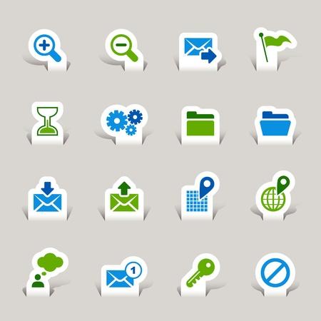 Papel cortado - sitio Web e Internet iconos