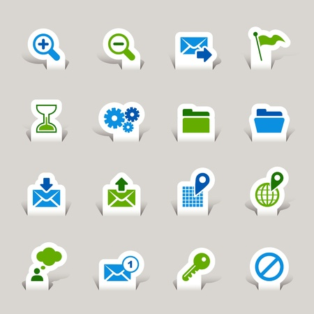 Paper Cut - Website and Internet Icons Vector