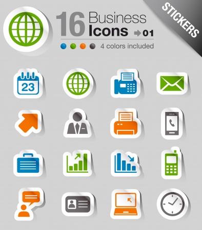 iconos: Pegatinas brillantes - iconos de oficina y negocios