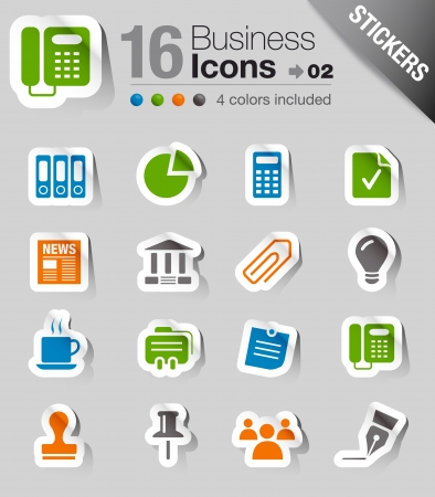 Glossy Stickers - Office and Business icons Vector
