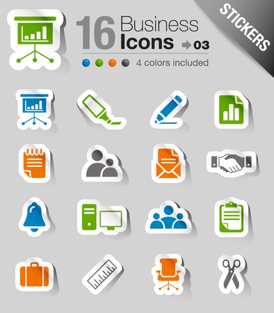 Glossy Stickers - Office and Business icons Stock Vector - 10470563