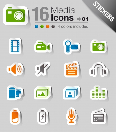 Glossy Stickers - Media Icons Stock Vector - 10470562