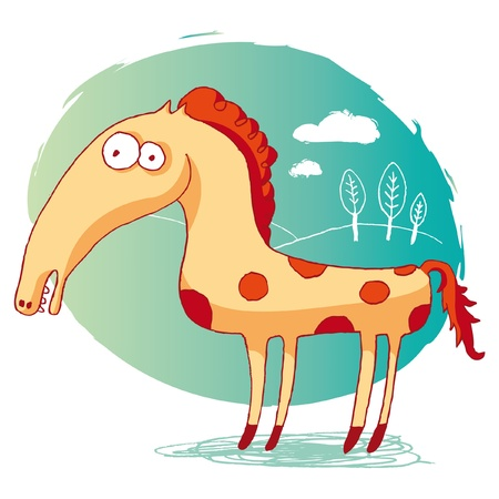 red horse: funny horse Illustration