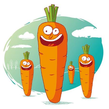 zanahoria caricatura: zanahoria divertida Vectores
