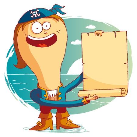 Pirate avec parchemin Banque d'images - 10470541