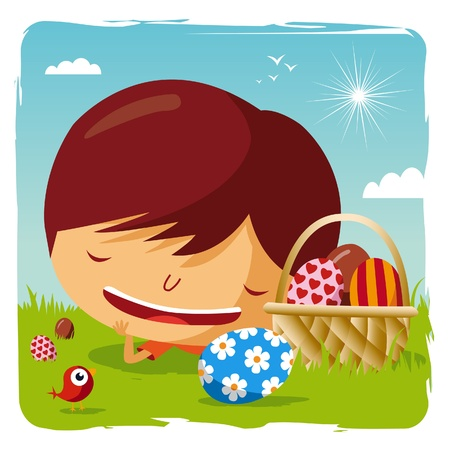 happy easter - boy lying in the grass with his easter eggs