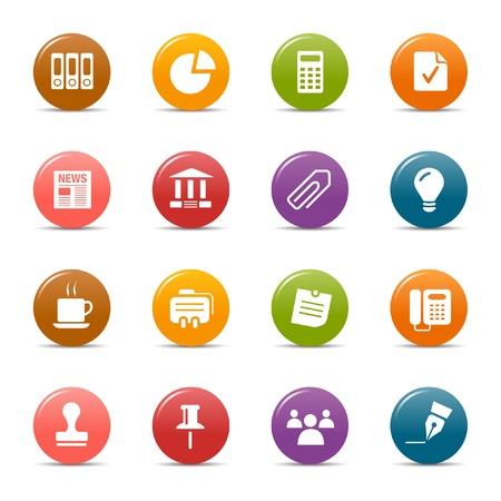 business: Puntini colorati - icone di Office e Business