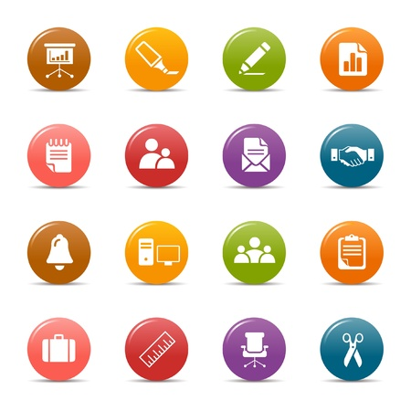 business icons: Colored dots - Office and Business icons
