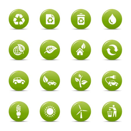 ecofriendly: Colored dots - Ecological Icons Illustration