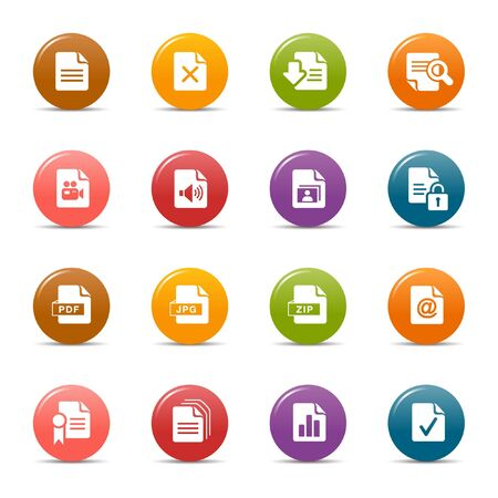 Colored dots - File format icons Stock Vector - 10505673