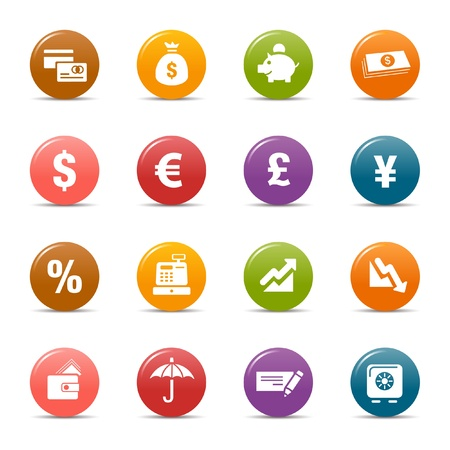 sales bank: Colored dots - Finance icons