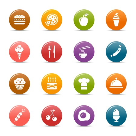 Colored dots - Food Icons Vector Illustration