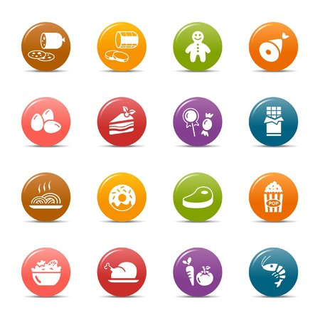 glossy icon: Colored dots - Food Icons Illustration