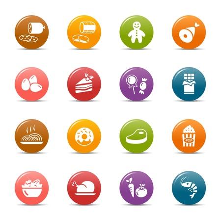 eating fast food: Los puntos de colores: los iconos de alimentos