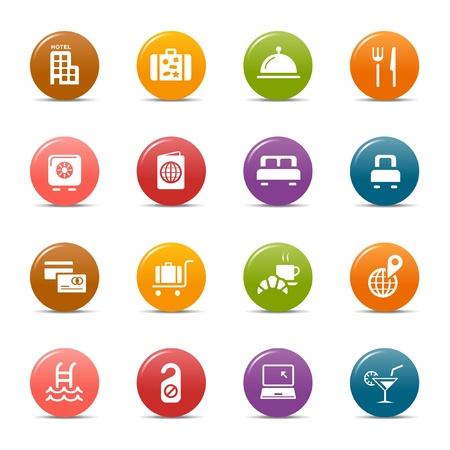 voyage: Points colorés - Hôtel icônes
