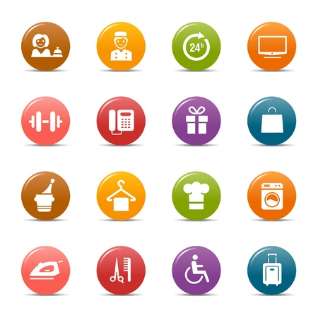 service occupation: Colored dots - Hotel icons