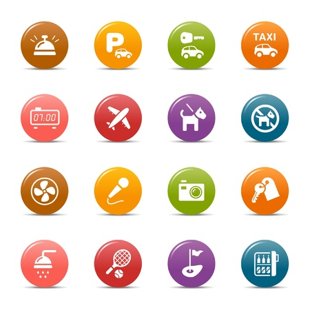 Colored dots - Hotel icons Stock Vector - 10505686