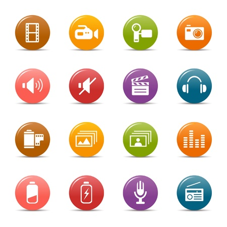 low battery: Colored dots - Media Icons Illustration