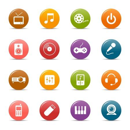 pink cell: Colores puntos - iconos de medios Vectores