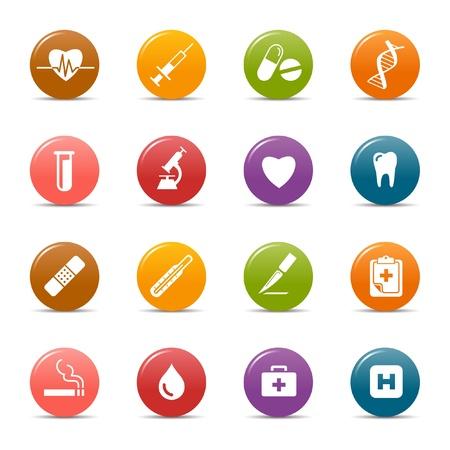 Colores puntos - iconos médicos Ilustración de vector