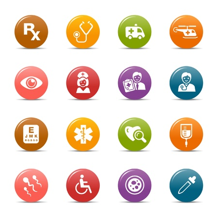 medical evaluation: Colored dots - medical icons