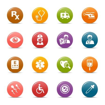 caduceo: Los puntos de colores - iconos médicos