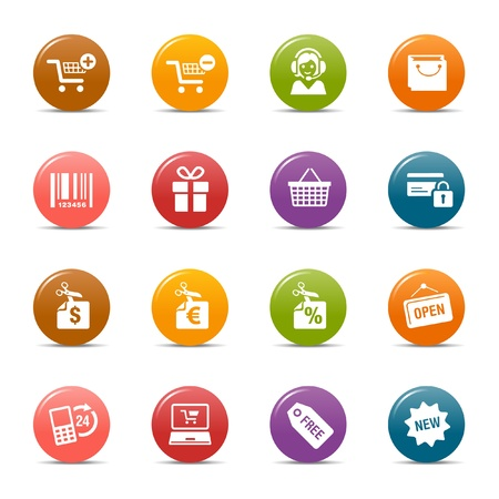 shopping trolleys: Colored dots - Shopping icons