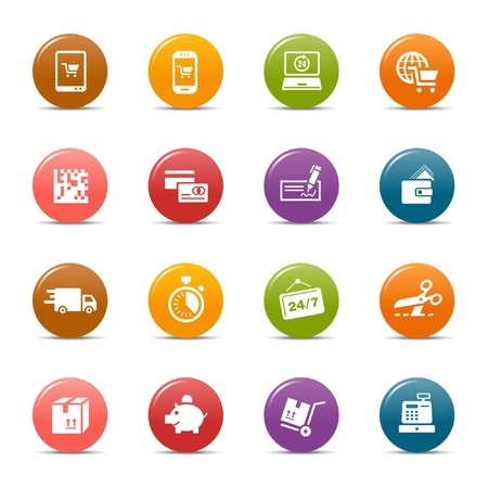ecommerce icons: Colored dots - Shopping icons