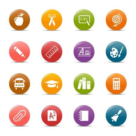 graduados: Los puntos de colores: los iconos escolares