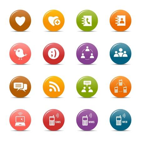 directorio telefonico: Puntos de colores - Social iconos de los medios de comunicaci�n