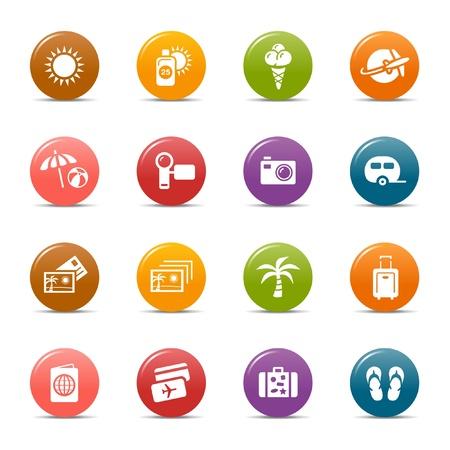 boarding card: Punti colorati - icone vacanze Vettoriali