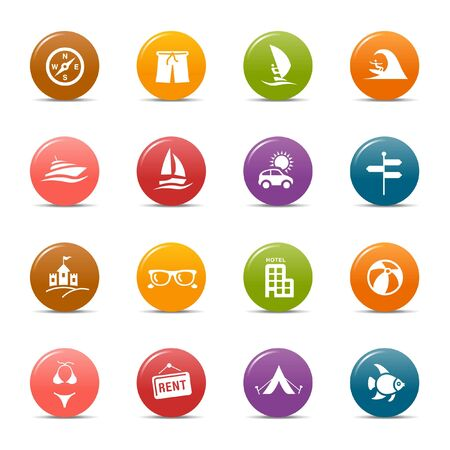Colored dots - Vacation icons Stock Vector - 10505679