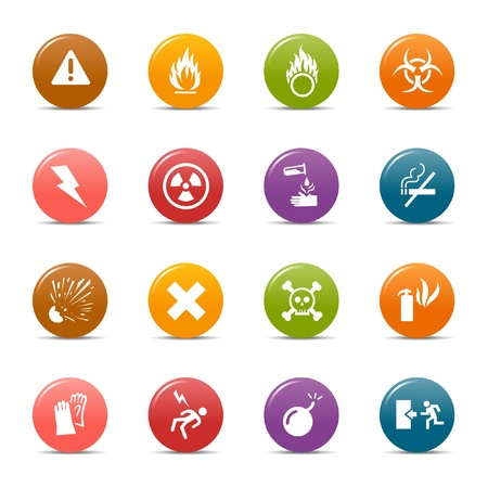 Colored dots - Warning icons Stock Vector - 10505674
