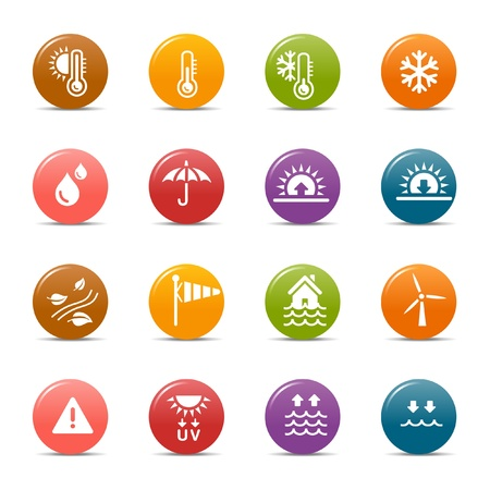 iconos del clima: Puntos de colores - Iconos del tiempo Vectores