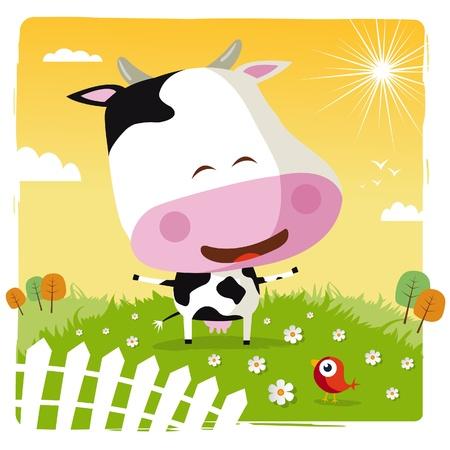 vaca caricatura: vaca divertida Vectores