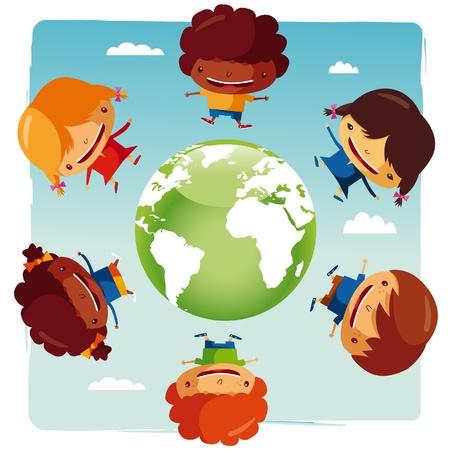 niños reciclando: los niños del mundo Vectores