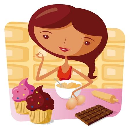 Woman baking - muffin Vector