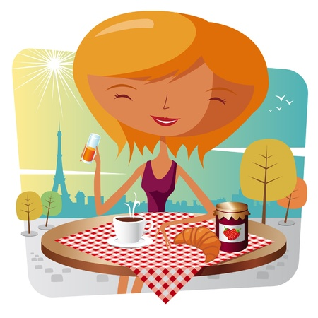 french girl: French breakfast - paris Illustration